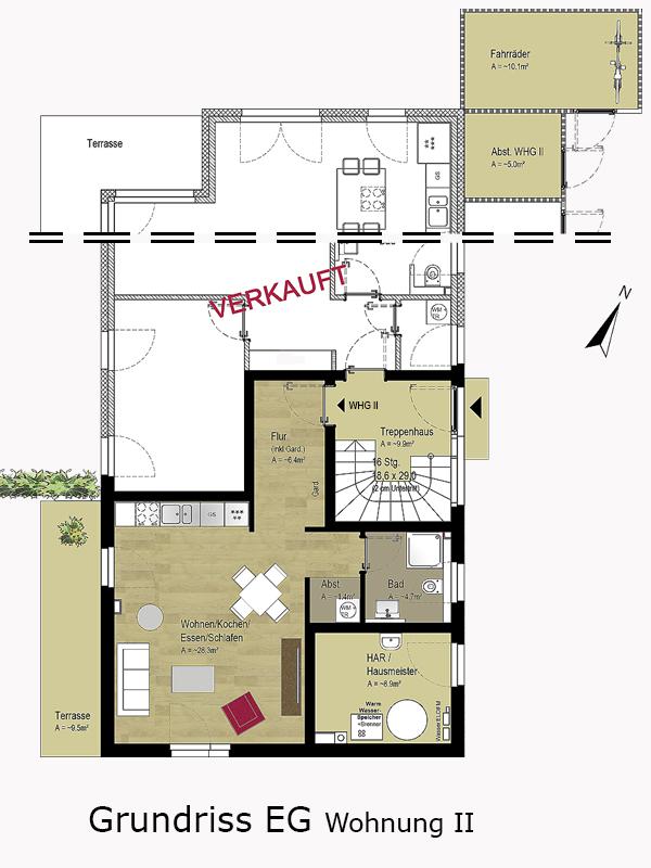 Grundriss Wohnung EG II | Langenhorner Chaussee 163a | IhL