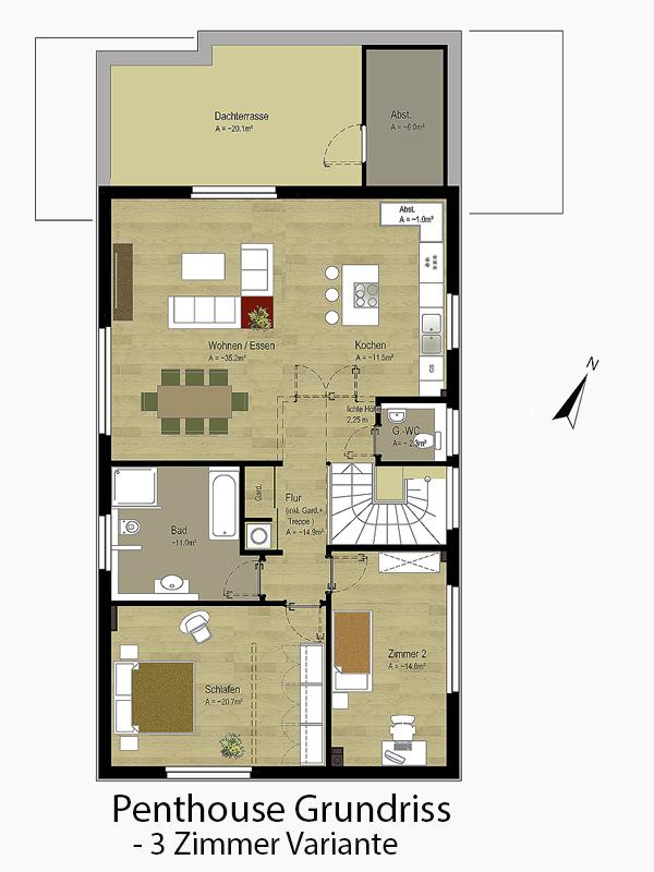 Grundriss Wohnung Penthouse | 3 Zimmer Variante |  Langenhorner Chaussee 163a | IhL