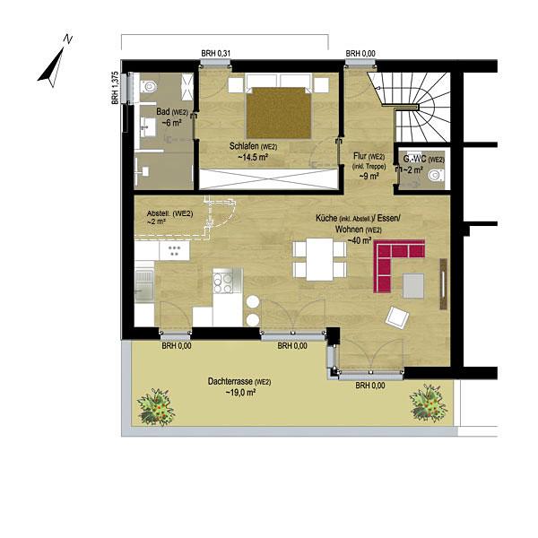 Wohnung 2 Penthouse | Grundriss Ebene 2 StFG |  Gilcherweg 39 | IhL Immobilien hanseatische Lebensart GmbH