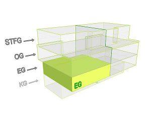 3D Flächenposition_Wohnung 1 EG | Gilcherweg 39 | IhL Immobilien hanseatische Lebensart GmbH