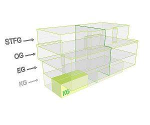 3D Flächenposittion_Wohnung 1 KG | Gilcherweg 39 | IhL Immobilien hanseatische Lebensart GmbH