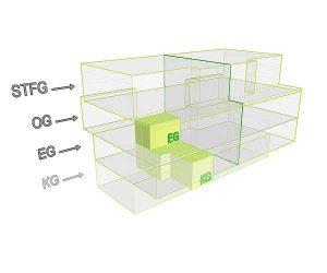 3D Flächenposition_Wohnung 2 StfG | Gilcherweg 39  | IhL Immobilien hanseatische Lebensart GmbH