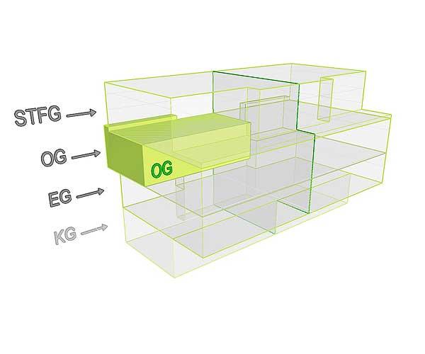 3D Flächenposition_Wohnung 2 OG | Gilcherweg 39  | IhL Immobilien hanseatische Lebensart GmbH