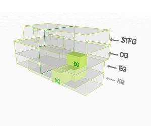 3D Flächenposition Wohnung 3 EG/KG | Gilcherweg 39 | IhL Immobilien hansetische Lebensart GmbH